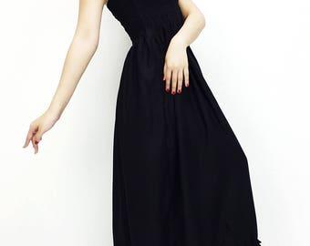Women Maxi Dress Gypsy Dress Boho Dress Hippie Dress Summer Beach Dress Long Dress Party Dress Clothing Solid Black (DLC1)