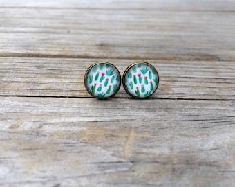 Cactus earrings, stud earrings, Desert stud earrings, cabochon earrings, 12mm earrings, Gifts for her