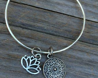 Lotus bracelet, Mandala Bracelet, Ganesha Bracelet, Yoga Bracelet, Charm Bangle, Charm bracelet, Ohm bracelet, Stacking Bracelet