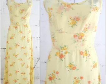 Vintage Butter Yellow Spring Floral Maxi Dress, Vintage 60s boho Maxi Dress