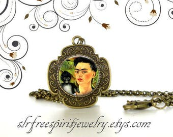 Frida Kahlo Necklace, Frida with Monkey, Cabochon Jewelry, Mexican Artist,  Famous Women Artist, Art Jewelry, Frida Gift, Monkey