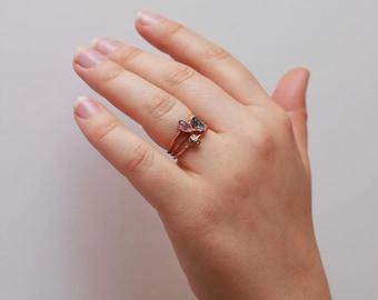 Stacking Ring Set // Wanderlust Trio Pyrite Snowflake Obsidian Amethyst / Raw Stone / Boho Ring / Raw Crystal / Gemstone Jewelry