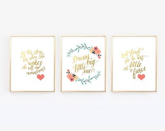 And though she be but - Let her sleep - Dream Big Little One - Navy Coral Gold - Nursery Prints - Wall Prints - Girl Nursery -Floral Nursery