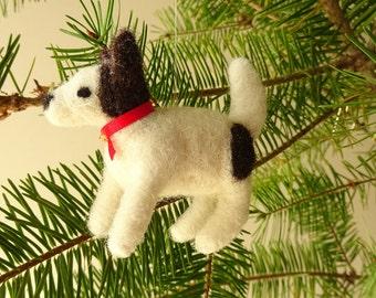 Dog Ornament, Tree Ornament, Needle Felted Dog, Little Dog, Terrier Dog, Dog Miniature, Dog Lover Gift, Dog Decor, Dog Gifts, Brown, White