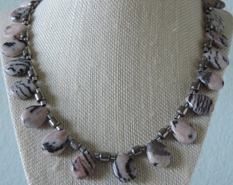 Pink and Black Necklace,  Pink Jasper Necklace,  Pink Zebra Jasper Necklace,  Pink Jasper Briolette Necklace,