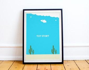 Toy Story Minimalist Poster - Buzz Lightyear - Woody - Pixar - Minimalist Movie Poster