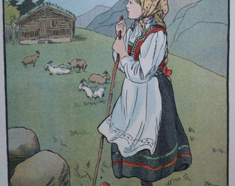 Vintage Children's Print - Solveig the Norwegian Girl Shepherding Goats in the Hills - Head Scarf -Scadinavian -1913 -Matted -Ready to Frame