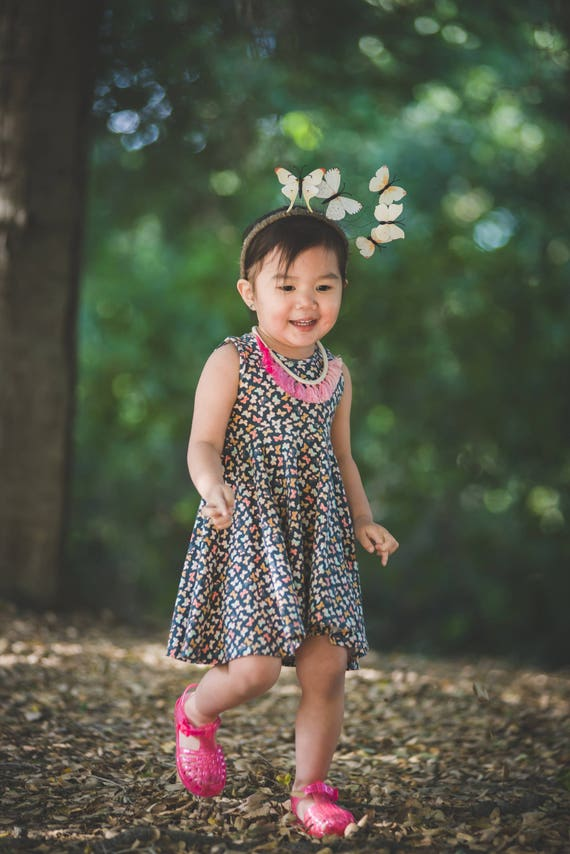 Butterfly Twirl Dress Twirly Dress Summer Dress Toddler Dress Child Dress Baby Dress Girl Twirl Dress Blue Pink Gold Mothlike Shadows Dress