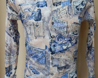 70's novelty polyester button-down shirt, racecar pattern printed fabric, Billy the Kid label, big collar