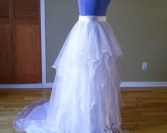 Ruffle Organza skirt, custom order, floor length, sweep court train, plus size, Ivory organza, fluffy bridal skirt, beach wedding
