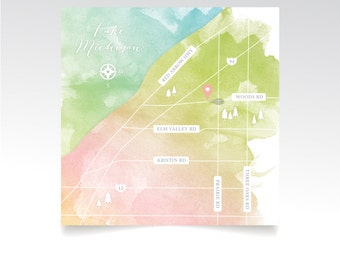Level 2 Map . Lake Michigan Custom Wedding Map & Directions 6.25 x 6.25in Square Printed Card . Same Sex Gay Rainbow Watercolor Calligraphy