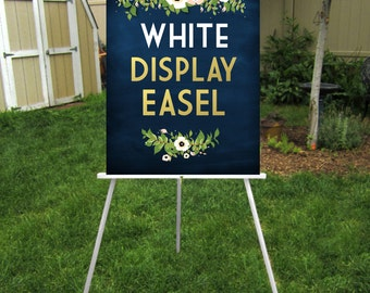 WHITE Easel . Wooden 5ft Floor Display Large Wedding Sign . Chalkboard Lightweight Foam Board or Canvas up to 24 x 36in . Hand Painted