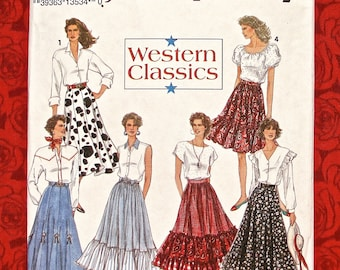 Simplicity Sewing Pattern 8193, Western Skirts, Gored, Full Circle, Ruffled Flounce, Sizes 12 14 16, DIY Cowgirl Prairie Peasant Chic, UNCUT