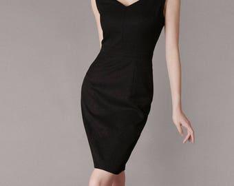 Black Vintage Evening Dress Formal Black Dress Mother of Bride Dress Plus Size Clothing Custom Dressmaker Retro Dress Chieflady CR01