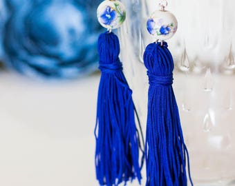 Fringe Earrings/ Blue earrings/ Long Earrings/ Tassel Jewelry/ Blue Tassel Earrings/ Beads/ Nickel Free/ Statement Earrings/ Greek Jewelry