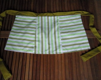 "Green And White Upcycled Sheet - Reversible - Half Apron ""Not Your Grandma's Apron"" (Item Short Green)"