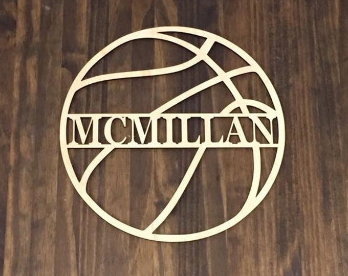 "18"" Wood Basketball Last Name Team Name Laser Cutout Sport Shape Unfinished"