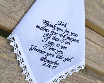 Wedding gift for dad Handkerchief for Father of the bride Gift for Father from the Bride Personalized wedding Hanky Custom gift for parents