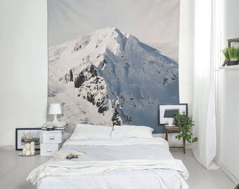 Snowy Mountain Wall Tapestry, Winter Decor, Iceland Landscape, Mountain Tapestry, Wall Blankets, White Tapestry