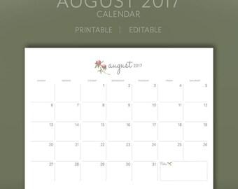 August 2017 Calendar / Planner / Printable / Editable / Instant Download / PDF
