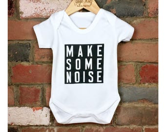 Make Some Noise Baby Grow, Monochrome Baby Bodysuit, Hipster Baby Clothes, Cool Baby Shower Gift, Funny Slogan Baby Clothes, Best Baby Gift