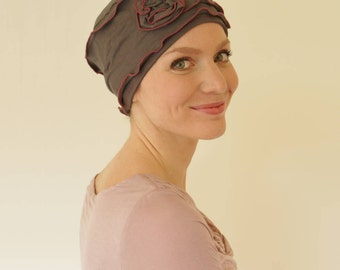 Womens chemo hat | stylish chemo headwear | turbans for cancer patients | chemo headgear - taupe/dusky pink - available in all sizes