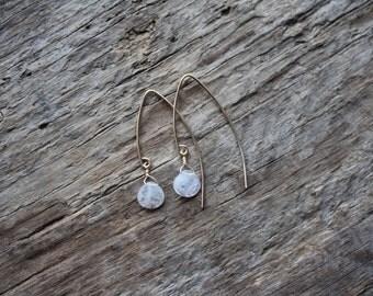 Rainbow Moonstone Teardrop Gold Filled Marquise Earrings