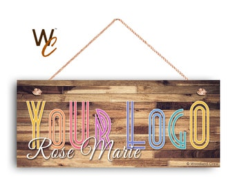 "Company Sign, Place Your Logo on Sign, Personalized 6""x14"" Sign, Promote Business or Boutique, Rustic Darker Wood Style 4, Made To Order"