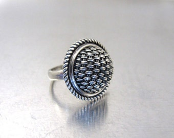 Sterling Silver Domed Ring, Signed SUARTI Large Braided Rope Basketweave Design, Size 6.50