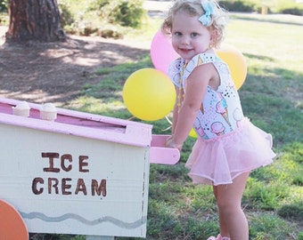 Ice Cream Birthday Outfit - Ice Cream Party - Toddler Leotard - Girls Leotard - Baby Girl Birthday Outfit - Girls Clothing - Handmade