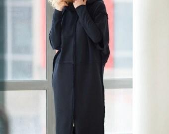 Oversize Tunic Dress, Hooded Dress, Plus Size Tunic Dress, Women Cloak, Black Long Dress, Long Sleeved Dress, Warm Dress, Gothic Clothing