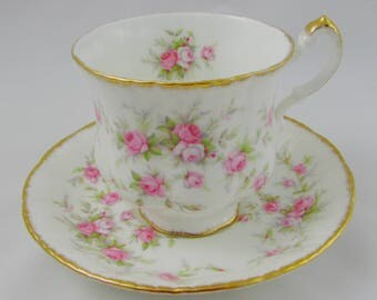 """Paragon """"Victoriana Rose"""" Tea Cup and Saucer with Pink Roses, Vintage English Bone China"""