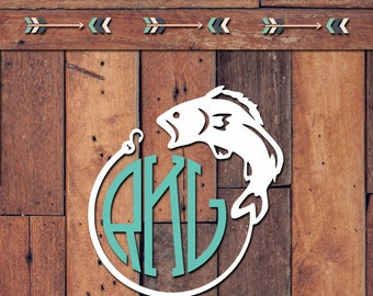 Fish Monogram Decal | Yeti Decal | Yeti Sticker | Tumbler Decal | Car Decal | Vinyl Decal