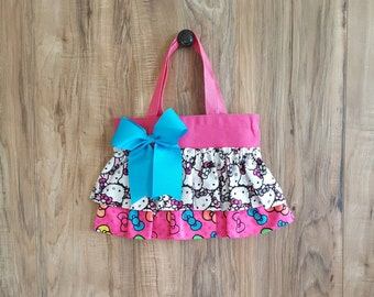 Hello Kitty Hot Pink Ruffled Little Girl Tote/Bag/Purse