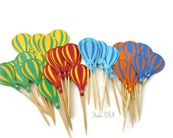 Bright Colors Hot air Balloon Topper- Mixed Colors Hot-air Balloon Cupcake Toppers- or CHOOSE YOUR COLORS