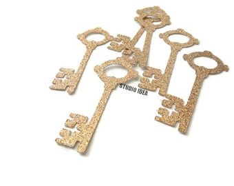 "Champagne Gold Glitter Vintage Key 2.5"" Cut-outs, Embellishments - or Choose Your Colors-Set of 40pcs, 80pcs"