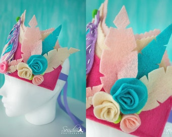 Felt Birthday Crown, Felt Crown, Custom Felt Crown, Customizes Crown, Girl Crown, Baby Headdress, Baby 1st Birthday Crown, Flower Crown