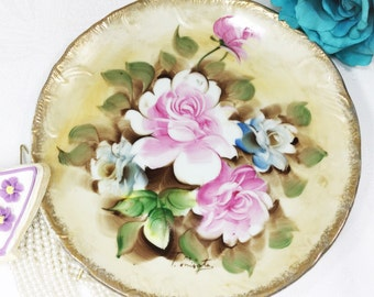 Scalloped Handpainted Display Plate, Handpainted Floral Plate, Wedding Gift, Bridal Shower #A02