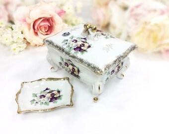 Vintage Highmount Quality Purple Pansy Floral Trinket Jar, Vanity Jar, Powder Jar, Jewelry Holder, Valentines Gift, Boudoir #A621
