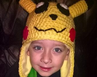 Crochet Pikachu Hat, Crochet Pikachu,Pokemon Pikachu  Made to order