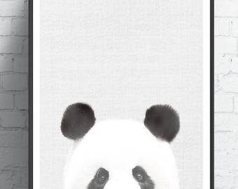 Panda Art print, Panda nursery art, Printable art, Nursery decor, Animal art, Baby animals, Nursery wall art, Kids art, Zoo animal nursery