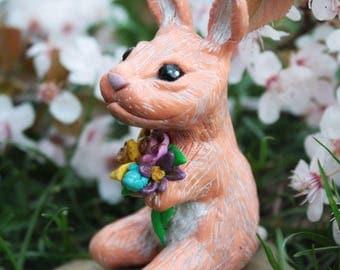 "Sale -15% cuponcode: ""JULYSALE"" Baby Bunny sculpture - flower bunny figurine - rabbit figure - flower bouquet - ooak fantasy sculpture"