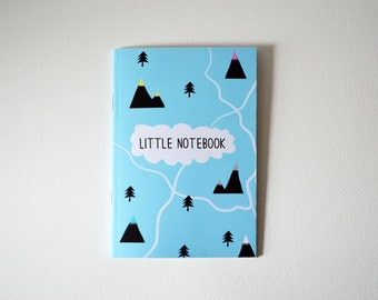 Mountains Notebook - A6 Plain Blue Mountain notebook - little notebook - mountains - rivers - trees - notebook - sketchpad - adventure