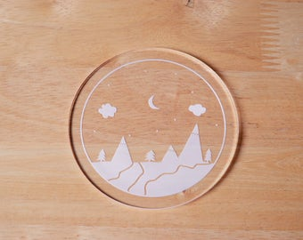 Drink Coaster - Clear - Mountains, River and Sky - Adventure - Acrylic - Little Mountains