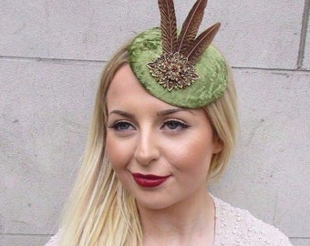 Brown Bronze Gold Olive Green Feather Fascinator Hair Clip 1940s Hat Races 2630