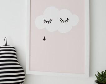 Raincloud Kids Print raincloud baby print, nursery print, nursery art, baby room, kids room Print