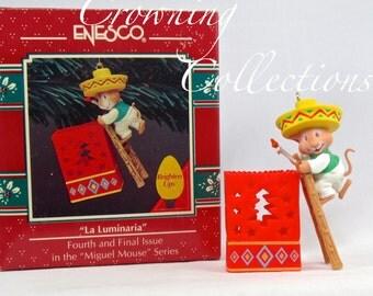 Enesco La Luminaria Miguel Mouse Treasury of Christmas Ornament Mice Feliz Navidad Vintage 4th in Series Final Paper Bag Lantern Brighten Up