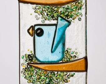 Trio of Whimsical Aqua Birds in Fused Glass