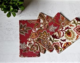 Large Cloth Dinner Napkins | Set of 4 Mix-and-Match in Autumn Fabrics | Double-sided Fabric Napkins | Reversible Napkins