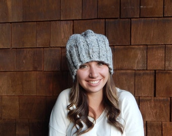 Chunky Knit  Hat, Knit Hat, Women's Winter Hat in Gray Marble ~ The Toasted Snowflake